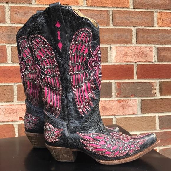 97b83d7d6d4 Corral Vintage western boots sz 7 1/2 black/pink